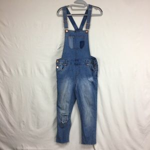 Cherokee Light Wash Patched Distressed Overalls